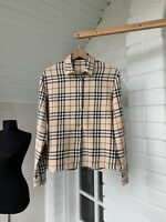 Women's Burberry London Beige Check Long Sleeve Shirt Size US10 UK14