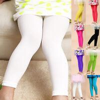 2016 Children Girl's Full Length Leggings Basic Plain Kids Pants Dance Trousers