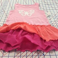 BUTTERFLY Pullover RUFFLE DRESS  Size 24M Pinks & Coral NEW