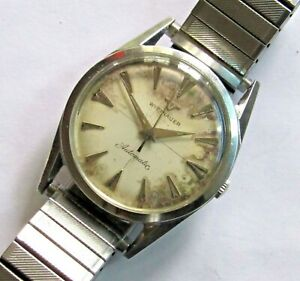 Vintage Wittnauer Automatic Men's Wristwatch 17 jewels Stainless steel case RUNS