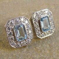Aquamarine Vintage Art Deco Antique Stud Earrings 3.17 Ct Diamond 14K Gold Over