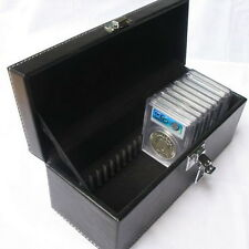 New Storage Box Case Black PU Leather for 20PCS PCGS NGC Slabs Coin Holders QW