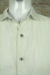 ROBERT GRAHAM DESIGNER LUXURY WHITE LINEN DRESS SHIRT SIZE L VGC