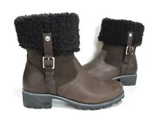 Ladies UGG Brown leather Sheepskin lined Boots Size 5 Mint Cond
