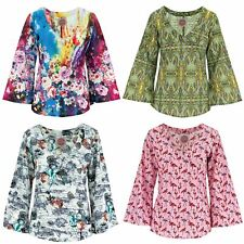 Wrap Top with Flared Sleeve Ministry of Colour Crop V Neck Womens Bell Sleeve