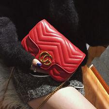 Women Handbag Cross body Quilted PU Leather Zigzag Chain Medium Velvet Flap Bag