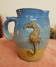 STOKES Pottery Pitcher Seahorse Art Pottery Unusual Vase