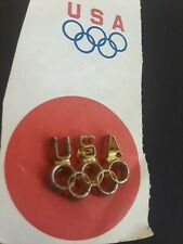 Vintage Team USA Olympic Games 5 Rings Pin Back Hat Lapel Pin