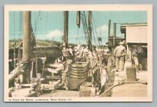 Fishing Ship Deck LUNENBURG Nova Scotia—Rare Vintage Postcard 1930s