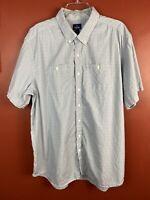 Old Navy Men Button Down Short Sleeve Light Blue Classic Fit Shirt Size XXL