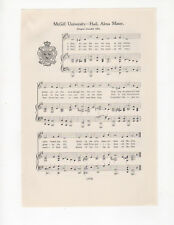 Vtg McGILL UNIVERSITY college song - MONTREAL QUEBEC