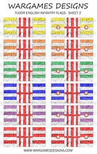Bandiere 10 mm-FANTERIA INGLESE TUDOR-FOGLIO 2-LUCCIO & SHOTTE, Barocco, DBR