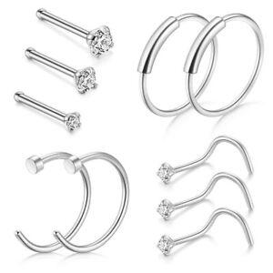 Bone Stud Women's Nose Ring Hoop Zircon Unisex 10pcs/Set Crystal Nose Stud BB
