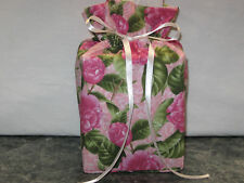 Pink Peonies Flowers green leaves cotton Fabric Handmade Square Tissue Box Cover