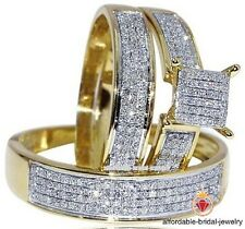 Diamond Wedding Yellow Gold Finish Trio Set Mens Ladies Band Engagement Ring