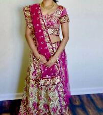 Fully Embroidered Indian Bridal Lehenga Choli Pink Gold