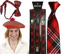 Burns Night Tartan Sotish Hat With Hair Braces Tie Bow Tie Fancy Dress Accessory
