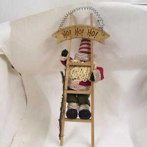 Santa Father Christmas climbing 52cmtall ladder decoration beard fabric figurine