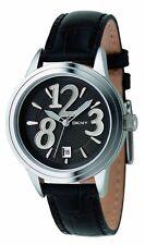 New DKNY Steel Black Leather Date Women Dress Watch 40mm NY4371 $155