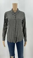 Soft Joie Womens Button Up Shirt Size XS Black Gingham Plaid Top Roll Tab J3