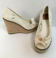 Tory Burch White Floral Lace Canvas Espadrille Wedge Size 8 M