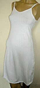 NEXT White Long Full Slip Size 10 Stretch Cotton Underskirt Adjustable Straps