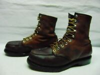 Red Wing Made in USA  Mens 9.5 Brown Leather Steel Toe Work Safety Lace Up Boots