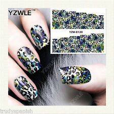 Nail Art Water Decals Wraps Blue Green Leopard Print Spots Gel Polish (8120)