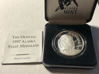 1997 Alaska Mint State Medallion Muskox Silver Proof Coin w/ Box and COA