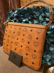 Authentic MCM Luggage Brown Leather Pouch Clutch Bag Wallet NEW