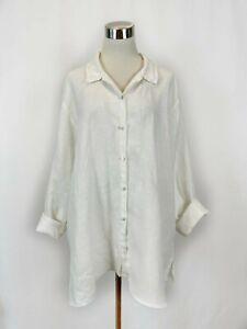 Eileen Fisher White Linen Button Up Tunic Top Sz XL