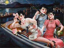 "*Postcard-""Sino Japanese Girls Enjoy Moonlight Night Ride on Canoe"" (B355)"