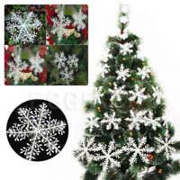 NEW 30 Pcs Plastic White Snowflakes Christmas Xmas Tree Decorations Ornaments