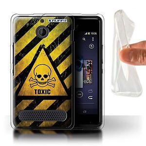 STUFF4 Gel/TPU Case for Sony Xperia E1/Hazard Warning Signs/Toxic/Skull