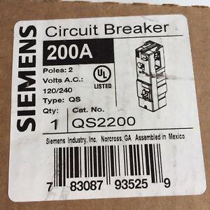 SIEMENS QS2200 BREAKER 200A, 2POLES, 120/240V