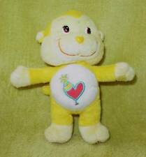 "PLAYFUL HEART MONKEY Cousin CARE BEAR Plush TOY 7"" Yellow Party Hat Joker"