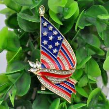 American Flag Crystal Brooch Pin Rhinestone Gold Tone