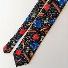 Ralph Marlin Elementary Teacher Mens Neck Tie Black Blue Red Chalkboard Rulers