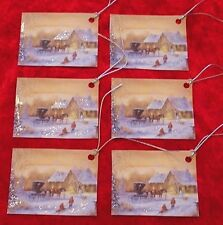 6 Country Snow Horse & Carriage Christmas Gift Hang Tags Glittered