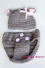 Baby Girl Grey Rabbit Bunny Knit Crochet Party Costume Photography Prop Hat set