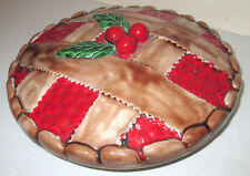 CHERRY PIE 5 WICK WAX CANDLE IN FULL SIZE LIDDED CERAMIC PIE PLATE DISH SERVER