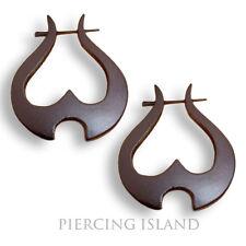 Ohrringe Goa Creolen Holz Handarbeit Wood Piercing Design Schmuck ER058