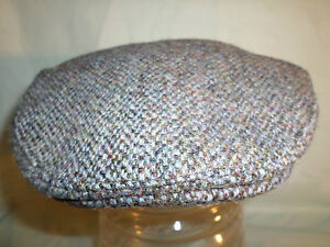 SUPREME QUALITY HAT SCOTTISH BLUE HARRIS TWEED FLAT CAP MADE IN GREAT BRITAIN
