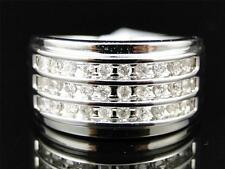 Mens 10K White Gold Round Cut Diamond 3 Row Engagement Wedding Pinky Band Ring