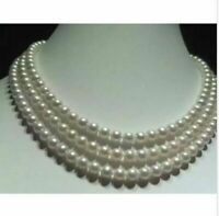 "new 50"" AAA 6-7 MM AKOYA GENUINE WHITE PEARL NECKLACE 14K Gold Clasp"
