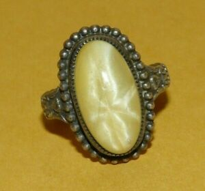~VTG~ANTIQUE~VICTORIAN~STERLING~SILVER~w/~YELLOW~STAR~SAPPHIRE~(?)~RING~SIZE~6~