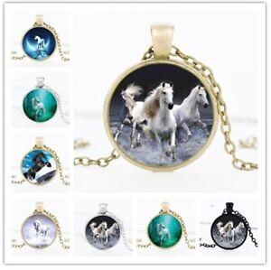 Horse Pony Unicorn Animal Cabochon Pendant Necklace & Gift Bag