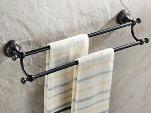 Oil Rubbed Bronze Double Towel Bar Rack Bathroom Wall Mounted Towel Holder