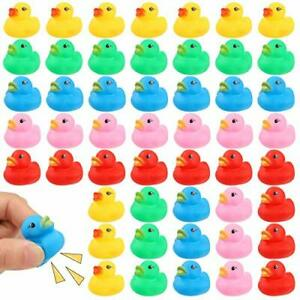50 Pcs Multicolor Mini Rubber Ducky Float Duck Yellow, Green, Blue, Red, Pink