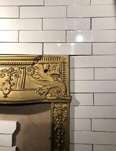 Complete Set Vintage Victorian Antique Fireplace Tile Tiles Mantle Padree White